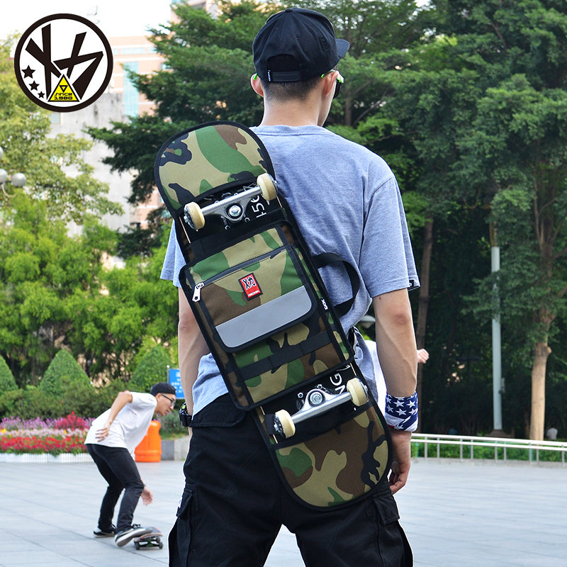 MACKAR 30x23x4cm Skateboard Bags 1000D Cordura Nylon Camouflage Skate Backpacks 900D Polyeter Oxford Black Double Rocker Bag
