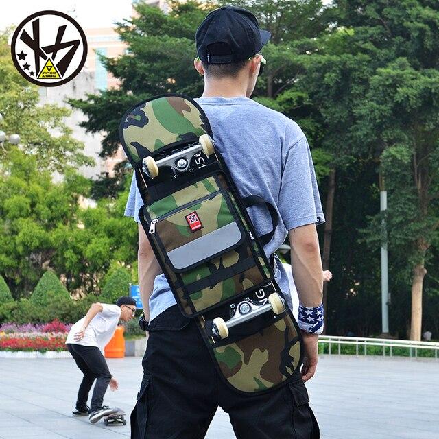 MACKAR 30x23x4cm Skateboard Bags 1000D Cordura Nylon Camouflage Skate  Backpacks 900D Polyeter Oxford Black Double Rocker Bag d316701ddfe10