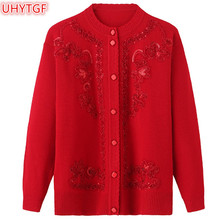 UHYTGF Spring Autumn Jacket Knitted Sweaters Women Shirts Coat Fashion Cardigan Plus size Knit Tops Loose Embroidery Sweater 46
