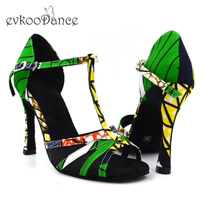 2017 Women Professional Green African Print High Heel 10 cm soft outsole Satin Salsa Ballroom Latin