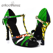 Купить с кэшбэком 2017 New Style Professional Green African Print High Heel 10 cm Open Toe Satin Salsa Latin Dancing Shoes Women NL163