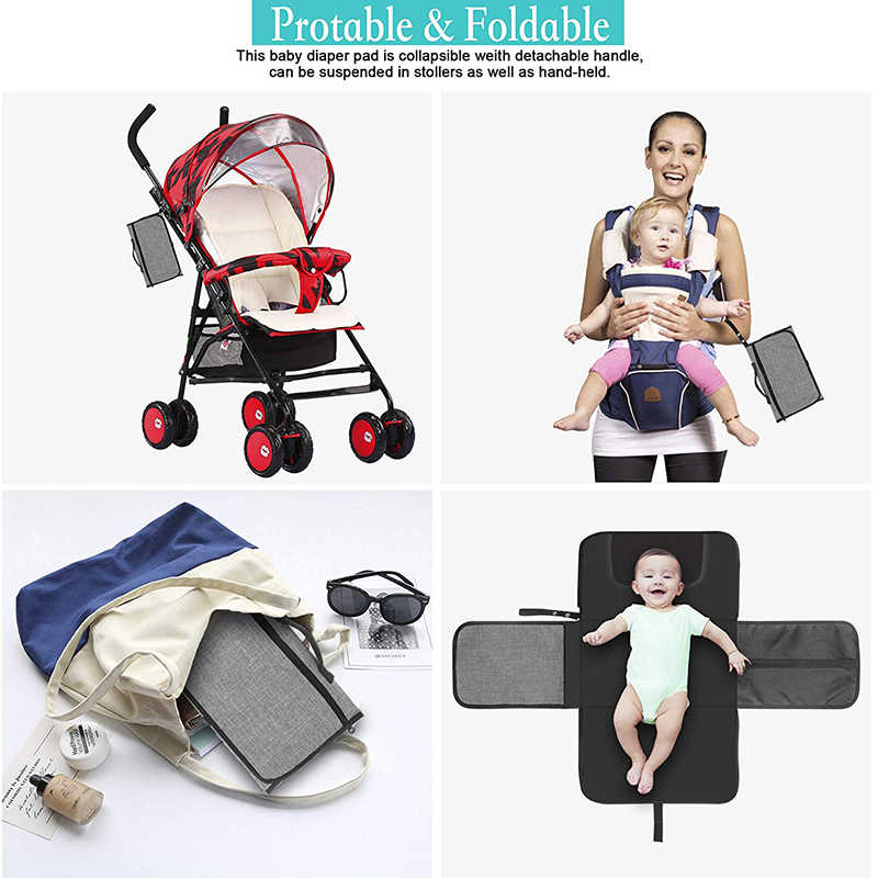 Bebé almohadilla de cambio portátil de viaje lavable cambiador de pañales de bebé almohadilla de pañal piso alfombras de juego colchón en el cochecito cambiar alfombras