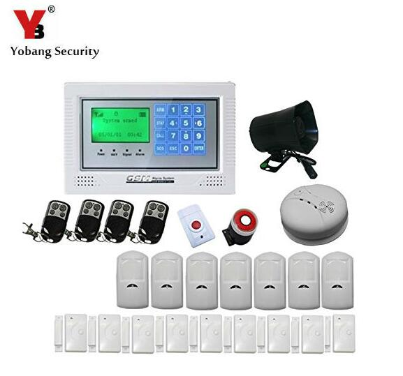 Yobang Security-Wireless Alarm House Home Security System SMS Auto Dialer GSM alarm system With PIR Motion Sensor Smoke Detector wireless smoke fire detector for wireless for touch keypad panel wifi gsm home security burglar voice alarm system