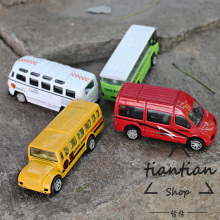 1:64 Travel bus school bus business car alloy car model children 's toys to open the door back to force Family Decoration