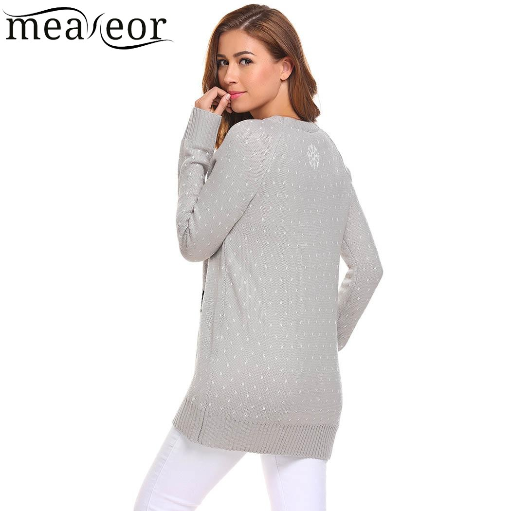 Meaneor Women Printed Warm Christmas Sweater 2017 New Autumn Casual O-Neck Long Sleeve Slim Pullover Sweaters Ladies Tops