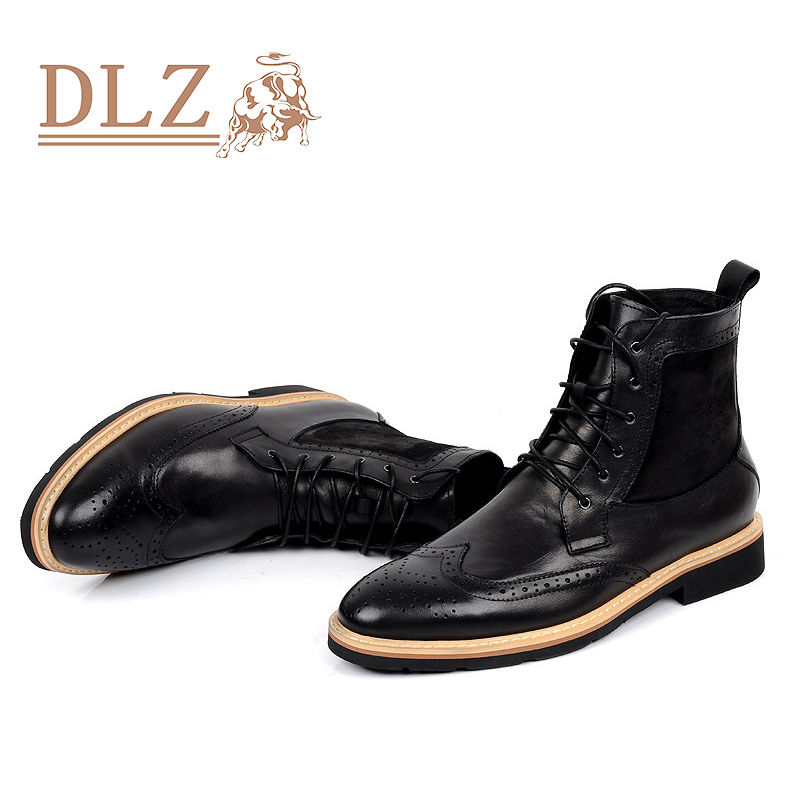 eb41d37e4118b 2016 Luxury Brand Mens Dress Boots Genuine Leather Lace up Round Toe Black  Brown Ankle Italian Designer Formal Shoes Size 38 44-in Ankle Boots from  Shoes on ...
