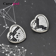 Carvejewl new stud earrings sequins snake leopard print heart for women jewelry romantic fashion European