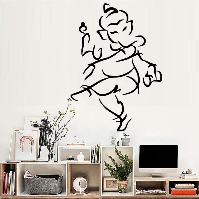indian elephant ganesha lord wall decals yoga gym wall decor vinyl