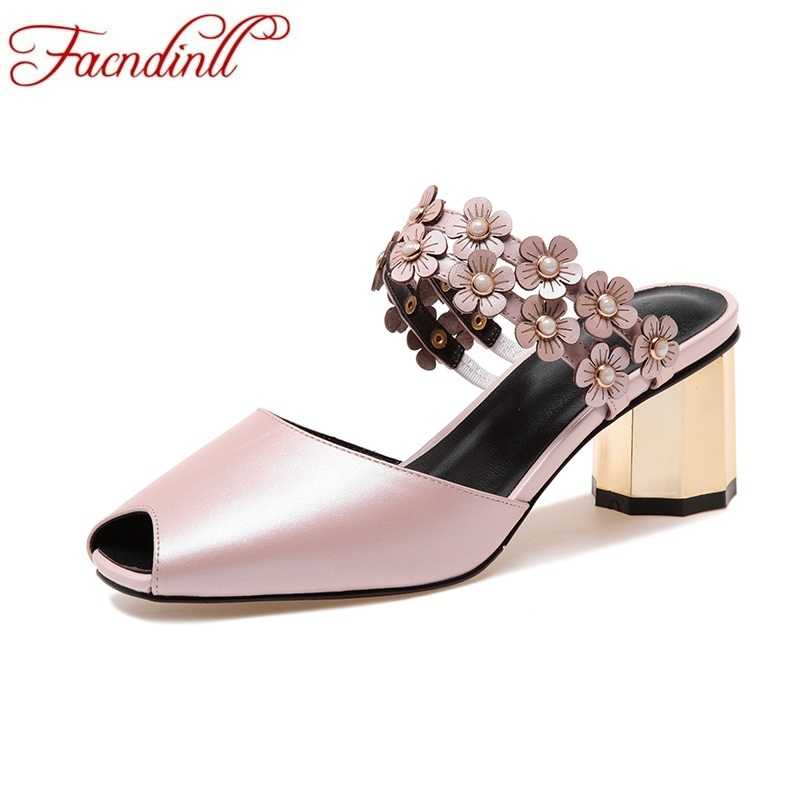 FACNDINLL shoes woman 2018 new fashion strange style heel slippers women genuine leather open toe sandals ladies casual slippers vankaring new sandals shoes women cruare strange style low heel open toe summer woman black dress party casual sandals slipper