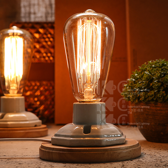 Industrial Vintage Edison Wooden Ceramics Base Socket E27 Dimming Table Lamp Cafe Bar Coffee Shop Hall Store Club Bedside