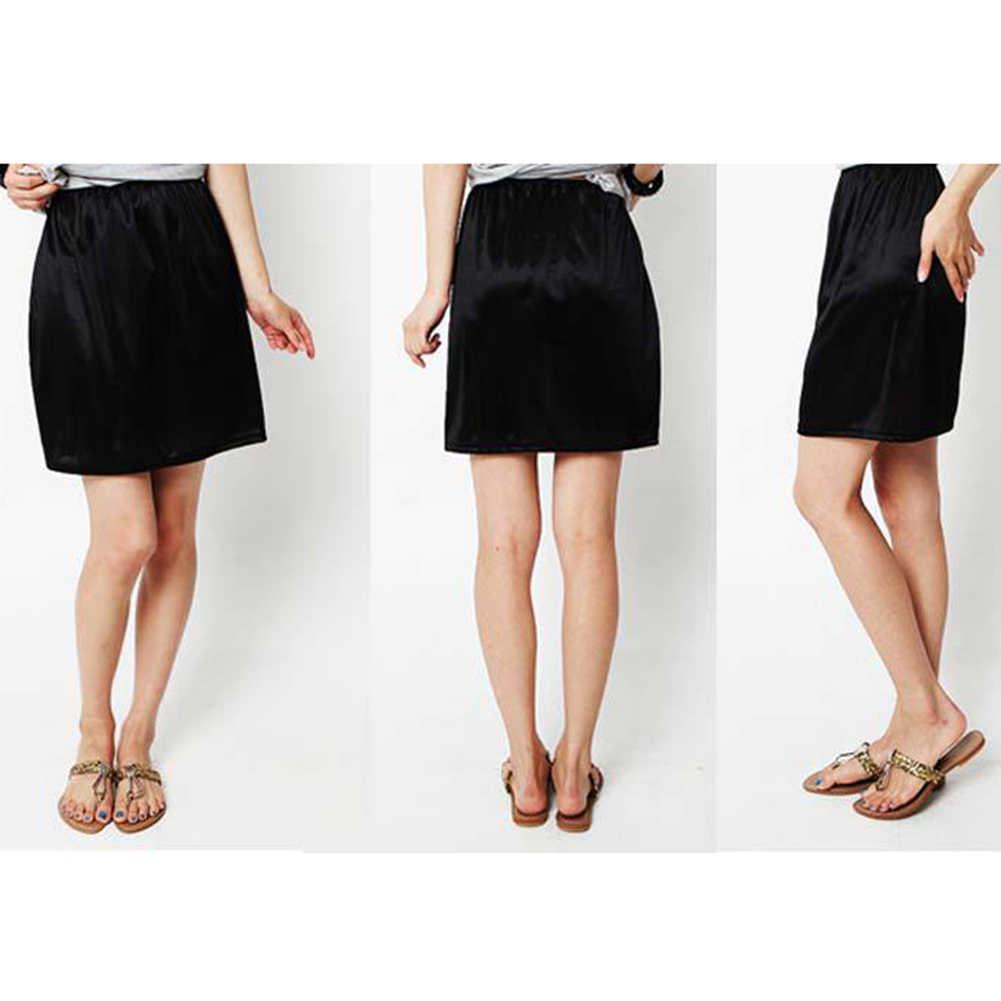 المرأة الصيف تمتد الساتان نصف تنورة المضادة للانزلاق ثوب نسائي قصير عالية الخصر الصلبة الورك تنورة السيدات تنورة قصيرة عادية اكسسوارات