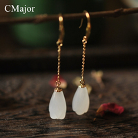 CMajor Vintage Gold Color Tassel Long Ear Wire Natural Stone Michelia Alba Shaped Earrings For Women