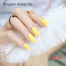 24pcs Explosion models fashion Long section Square head candy false nails decoration Lemon yellow M124