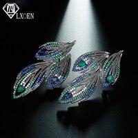 LXOEN этнические зеленые крылья перо серьги инкрустация зеленый и голубой циркон серьги Браслеты Mujer рождественские подарки Jewelry Bijoux