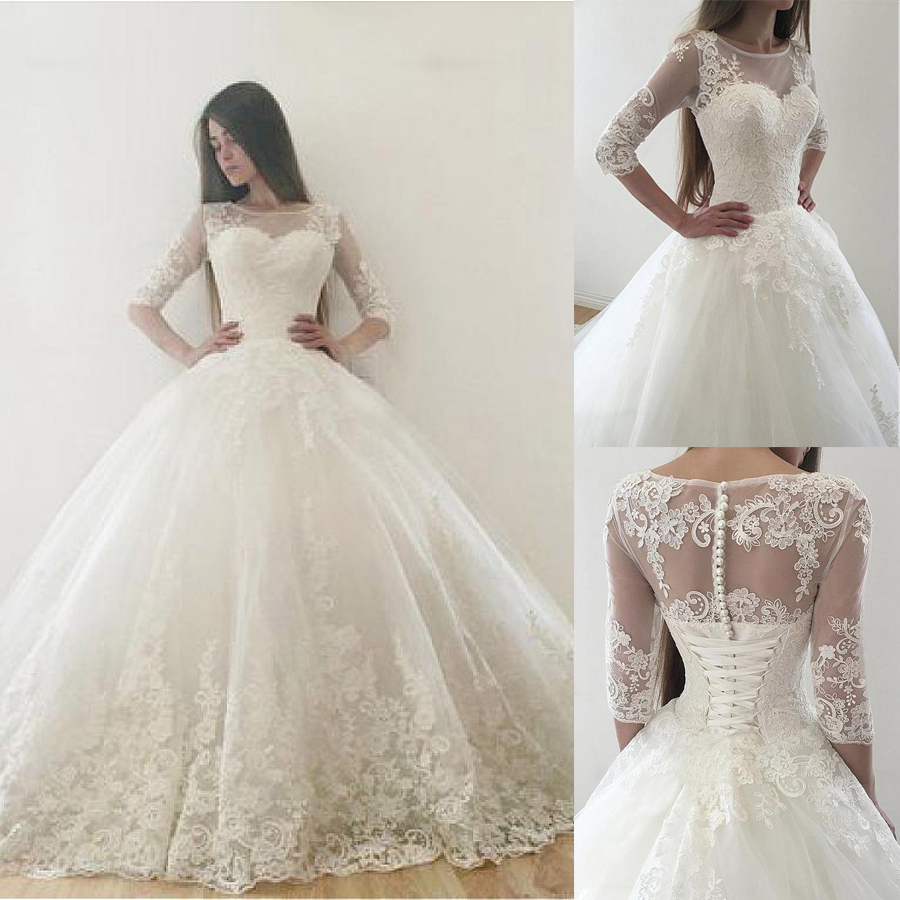 Vintage Tulle Ball Gown Wedding Dresses With Lace Appliques Half Sleeves Zipper Lace Up Back Two
