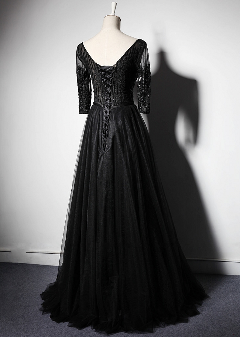 Black Long Sleeve Mother Of The Bride Dresses For Weddings A Line