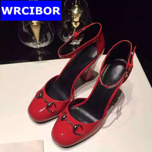 women's dress shoes fashion women pumps thick heels round toe ankle strap high heels sandals Wedding shoes Women's shoes