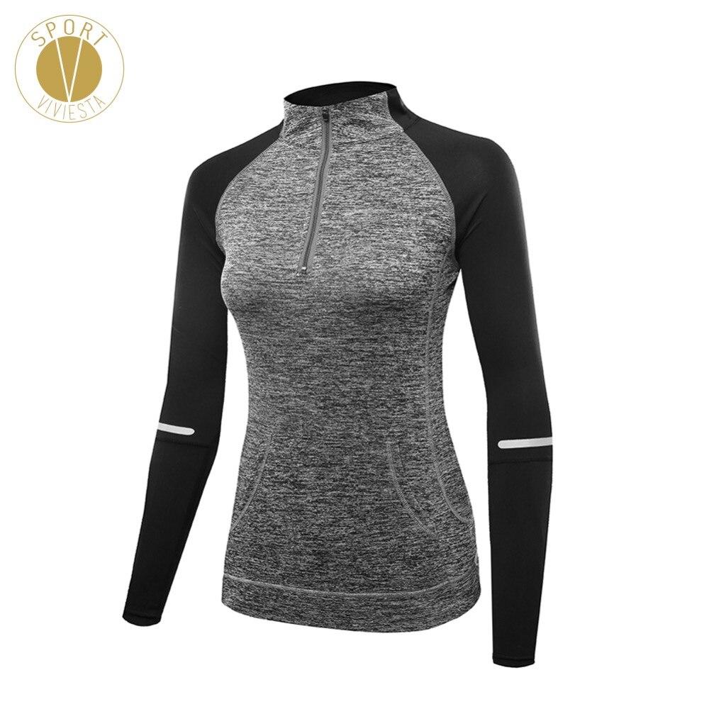 High Neck Half Zip Sports Pullover Women's Hiking Running Outdoor Yoga Winter Leisure Zipper Long Sleeve Shirt Top Sweater