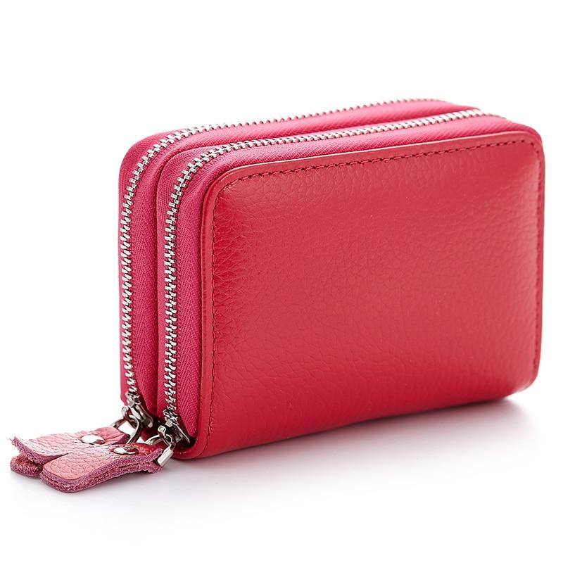 Brand New Women Ekte Leather Card Holder Dobbel Glidelås Kredittkort Wallet Gift For Men Card Pakkekort