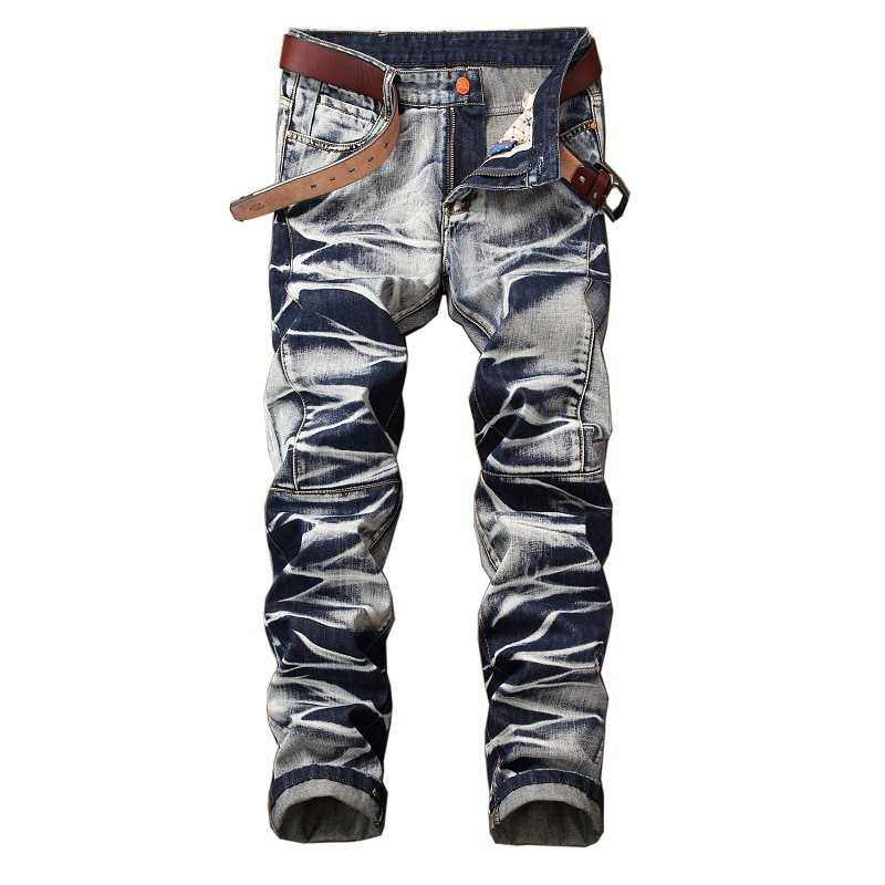 KIMSERE Men's Vintage Jeans Pants Fashion Retro Denim Trousers For Male Straight Fit Washed Plus Size 29-42(China)