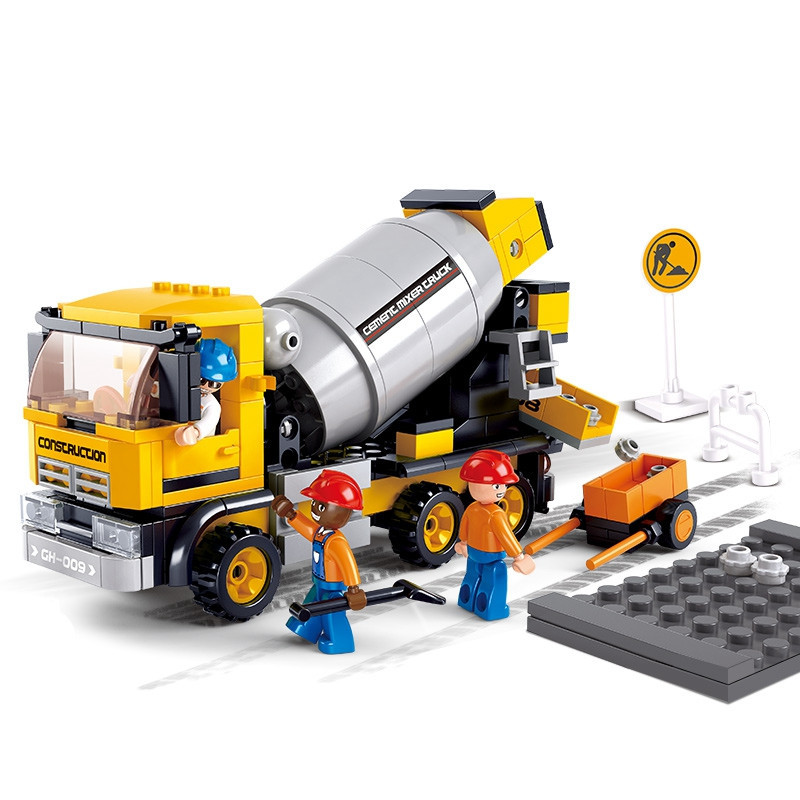 Sluban SimCity Mixer Truck DIY Enlighten Plastic Duplo Giocattoli Building Block Bricks Compatible With Legoe Toys For Children sluban pink dream sweet drink house educational toys for children building blocks plastic enlighten diy bricks legoe compatible