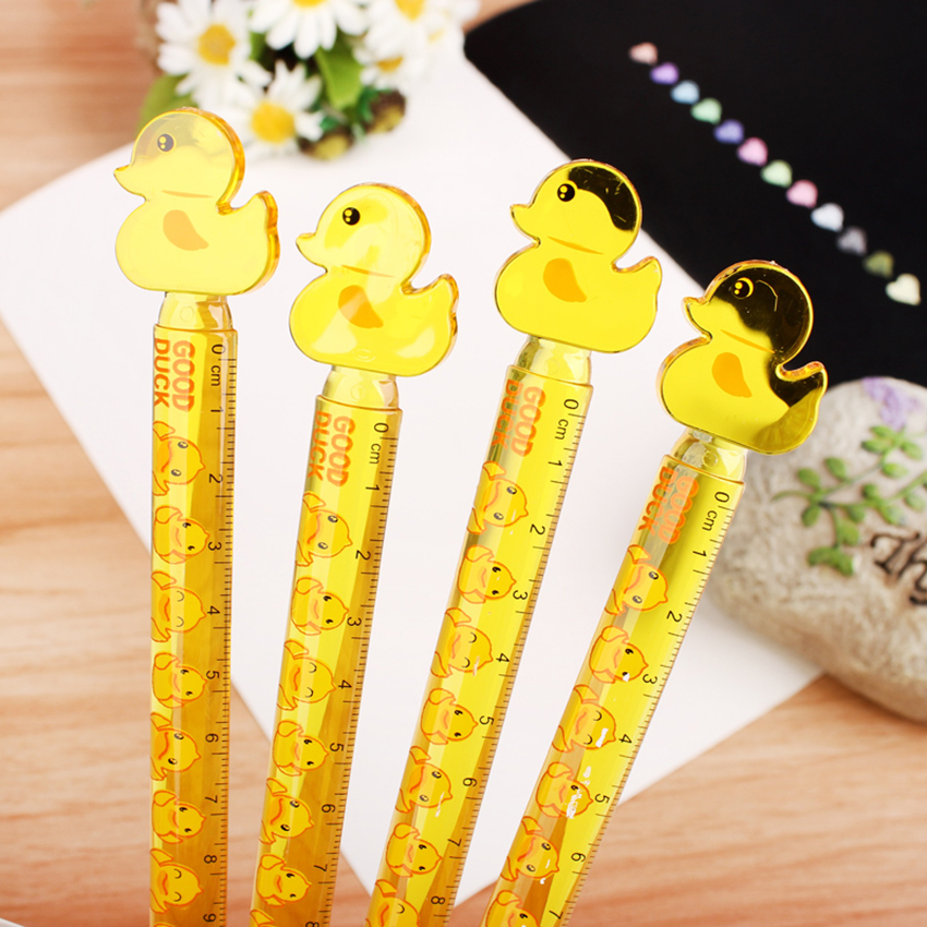 Cute Yellow Duck Plastic Straight Ruler Drawing Measuring Tools Cartoon Stationery 12cm Clear Scale Ruler Student Prizes NEW