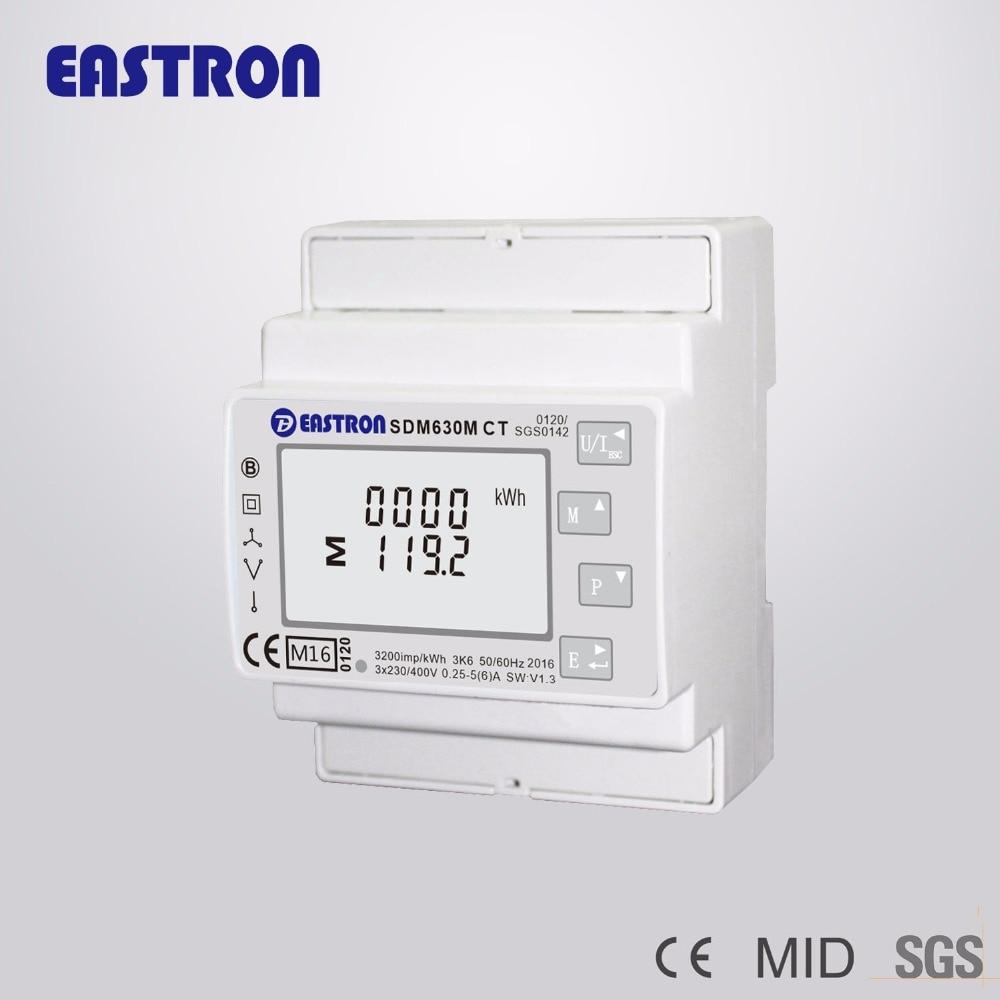 SDM630MCT MID, 1 а/5 А CT, трехфазный четырехпроводной измеритель энергии Din-рейки, RS485 Modbus RTU и импульсный выход, одобрено MID