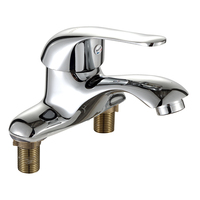 Full copper hot and cold water faucet 360 degree rotary faucet double hole wash basin kitchen faucet Bathroom product