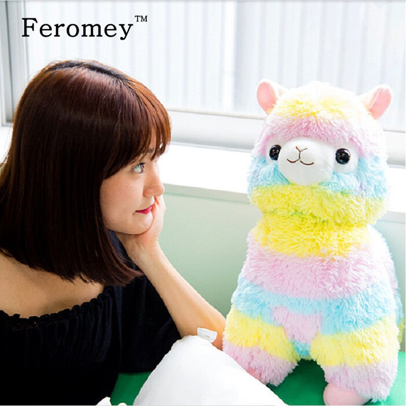 Hot 13/17/35cm Rainbow Alpaca Plush Toys Kawaii Alpacasso Stuffed Toys Japanese Plush Doll Toys Children Kids Gift hot 45cm good night alpaca toys japan amuse alpacasso arpakasso plush stuffed doll kids alpaca christmas gifts toy 5styles