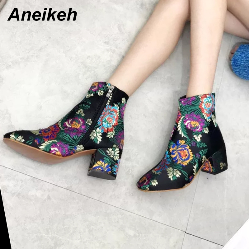 Aneikeh Fashion Embroider Boots Winter Women's High Heel Ankle Boots Round Toe Flower Pattern Ladies' Shoes Size 35 40