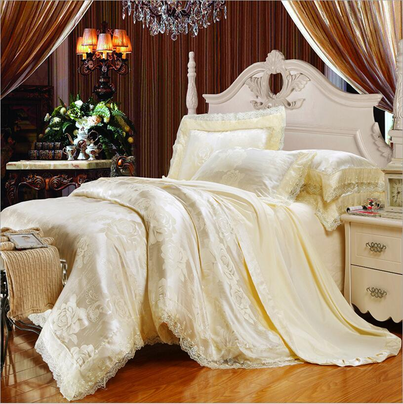 Embroidered Bed Set 4/6 Pieces Beige Jacquard Silk Cotton Bedding Set King Queen Size Lace Duvet Cover Bedsheet Linen PillowcaseEmbroidered Bed Set 4/6 Pieces Beige Jacquard Silk Cotton Bedding Set King Queen Size Lace Duvet Cover Bedsheet Linen Pillowcase