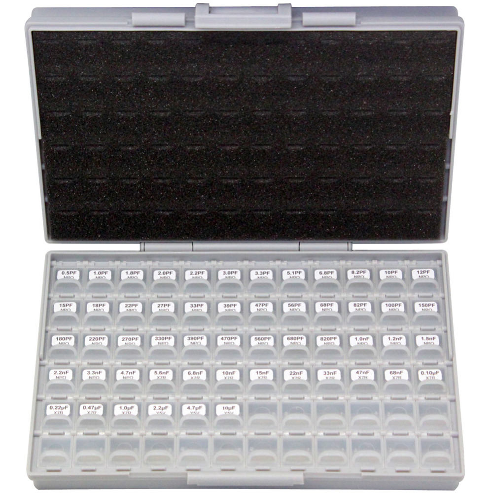 AideTek SMT/SMD 0603 Size Capacitor Box Organizzation Storage Kit With Enclosure 50 V X 10 Pcs Plastic Assortment Tool Box C0610