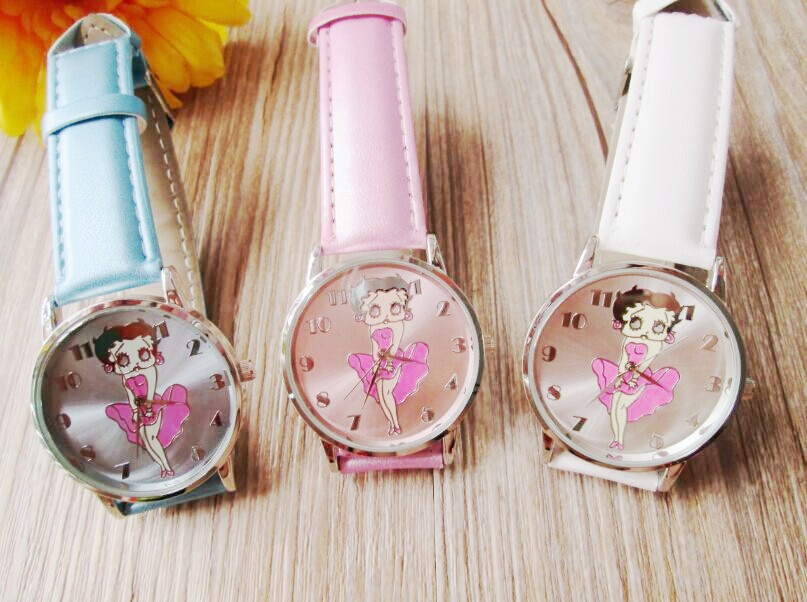 2015 New Arrival Fashion Cute Betty Quartz Leather Band Women Watch Ladies Kids Gift Casual Wristwatches