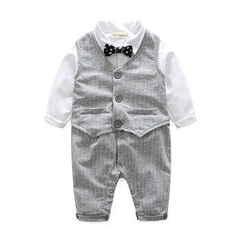 2017 Autumn Fashion Baby boy clothes sets newborn Gentleman Cotton Tie Rompers+Vest 2pcs baby suits Infant Casual Clothing