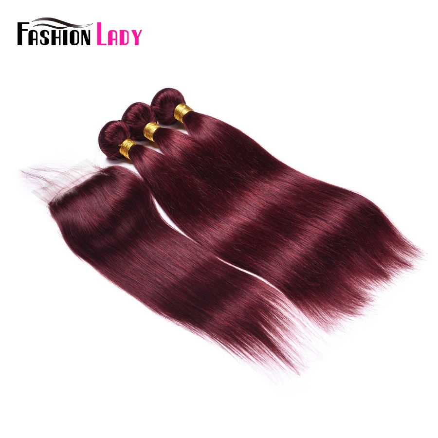 Fashion Lady Pre-Colored 3 Bundles With Closure Red 99j Mahogany Malaysian Straight Hair With Free Part Lace Closure Non-Remy