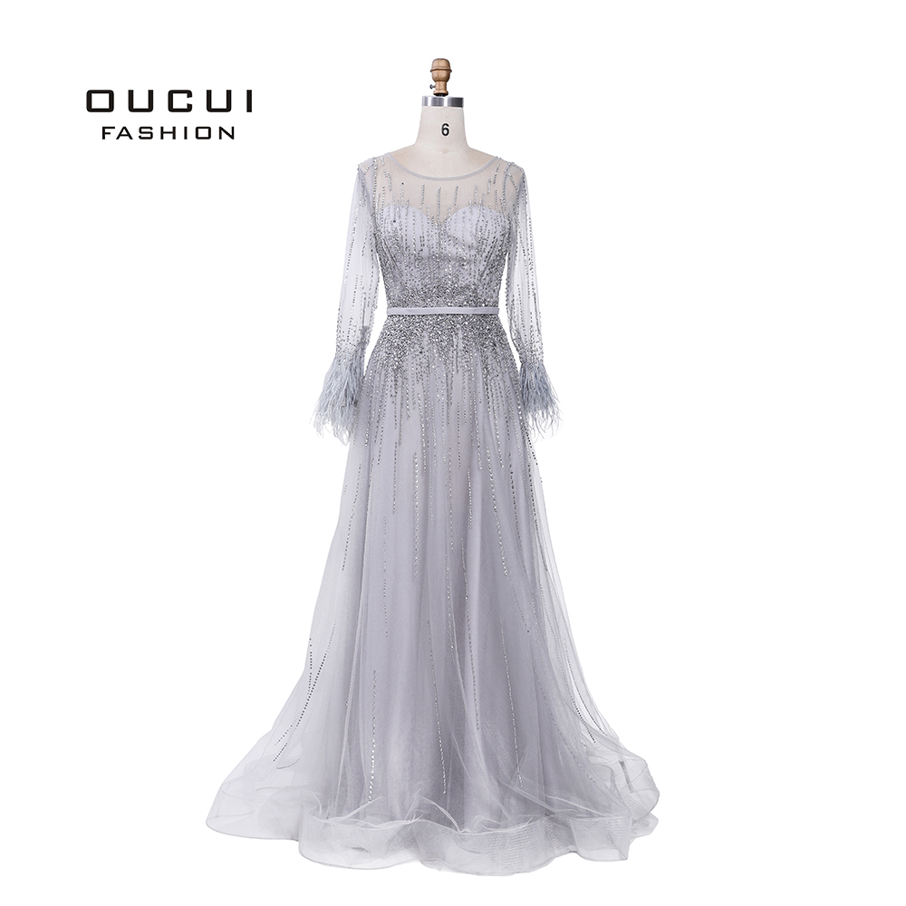 Sliver Gray Long Sleeves Evening Dresses Arabic Handmade Pearls Feathers Illusion Back Fashion Robe De Soiree 2019 OL103493