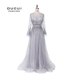 Image 1 - Splitter Grau Langen Ärmeln Abendkleider Arabisch Handgemachte Perlen Federn Illusion Zurück Mode Robe De Soiree 2019 OL103493