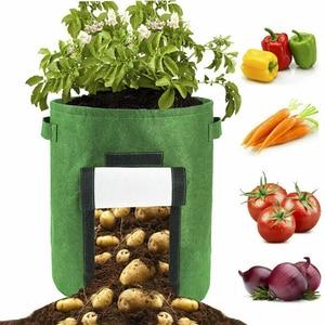 Image 5 - 7 갤런 직물 토마토 감자 성장 가방 꽃 야채 재배자 가방 홈 정원 심기 액세서리 새로운