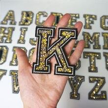 K буква желтое золото Стразы алфавит Серебряный край пришить железные нашивки вышитые значки для одежды DIY Аппликации украшения