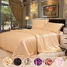 9 Цвет выбор 4 шт. Бесшовные шелк Постельное белье с чистого шелка Ткань