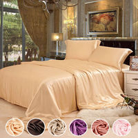 30 Color Free Shipping 4 Pcs Solid Color 100 Pure Silk Bedding Set 19mm Silk Satin