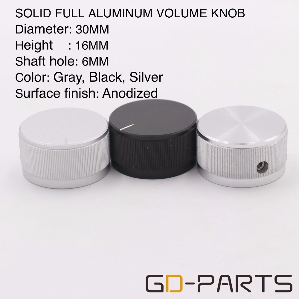 30*16mm Machined Solid Full Aluminum Knob Hifi Audio Amplifier DAC CD DVD Turntable Volume Sound Control Cap Silver Black