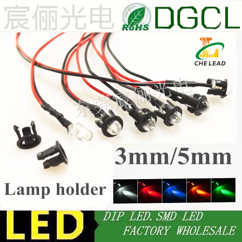 3//5//10mm Ultra Bright Pre-Wired Constant//Flashing 12v LEDs Chromed Holders.