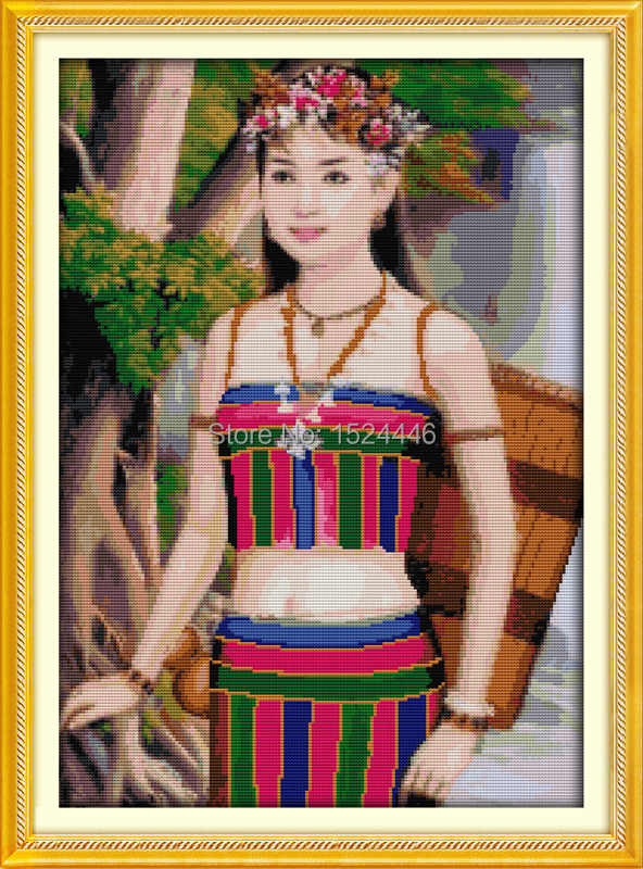 Cambodian girl flowers home Decor paintings counted printed on canvas DMC 11CT 14CT kits Cross Stitch embroidery needlework Sets