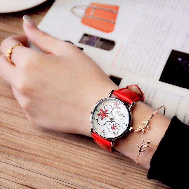 รายการใหม่หรูหรานาฬิกายี่ห้อผู้หญิงนาฬิกานาฬิกาข้อมือแฟชั่นลำลองผู้หญิงเลดี้นาฬิกาควอตซ์ นาฬิกาRelógio Femininoดอกไม้