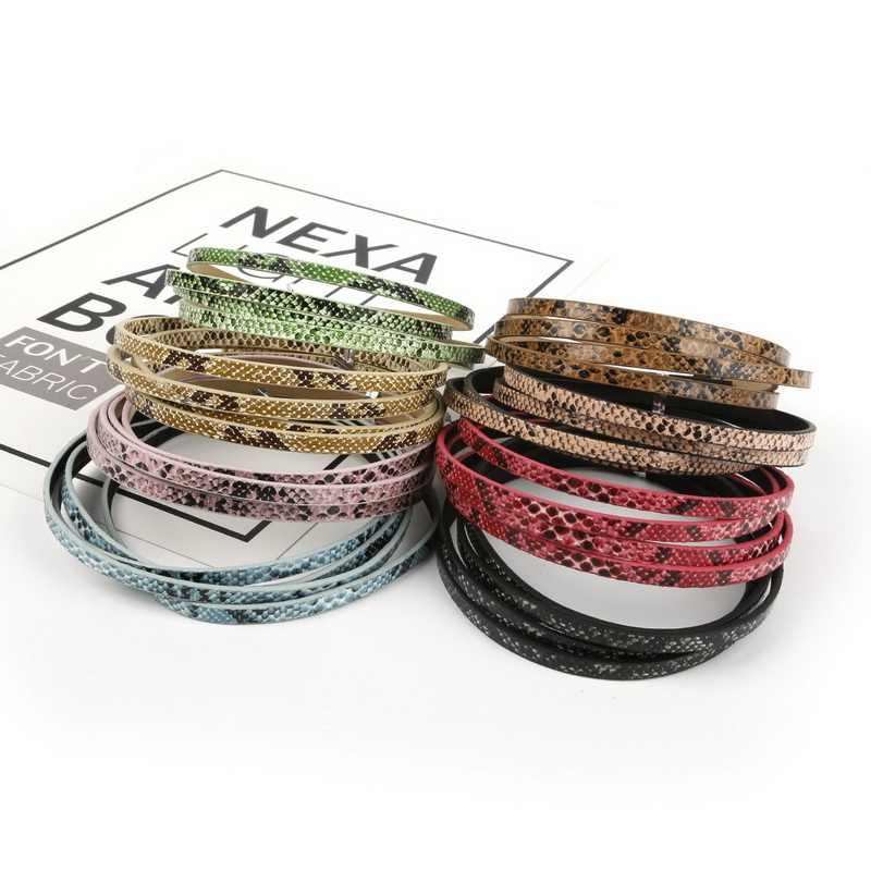 100 cm/unids 5mm piel de serpiente plana de cuero de PU cuerda soga hilo para DIY pulsera, collar, Gargantilla, accesorios para hacer joyas