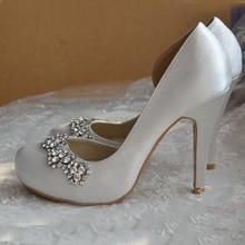Новое Прибытие Rhinestone Свадебная Обувь White Satin Свадебная Обувь Круглого Toe Высокий Каблук Великолепная Пром Обувь