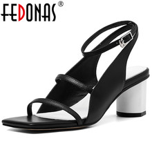 Sexy Sandals Heel Elegant Shoes Genuine-Leather Women FEDONAS Buckle Ankle-Wrap Pu
