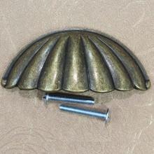 64mm rustico vintage cap shell furniture handles antique brass drawer cabinet pull knob 2.5″ bronze dresser cupboard door handle