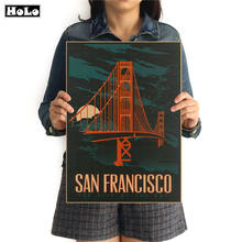 Vintage Golden Gate Bridge Poster Retro painting Abstract print picture Cafe Living Room Decor Wall Sticker 42x30cm(China)